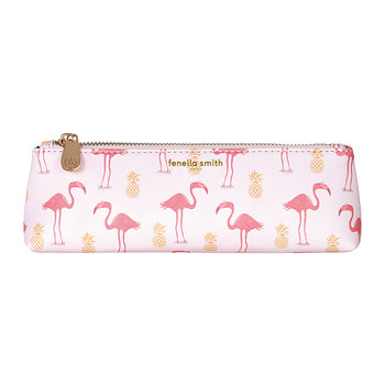 Flamingo & Pineapple Vegan Leather Pencil Case