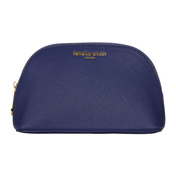 Vegan Leather Oyster Cosmetic Case - Navy