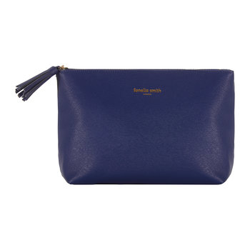 Vegan Leather Tasseled Washbag - Navy