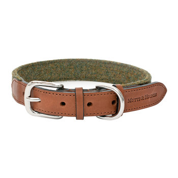 Leather & Tweed Collar - Forest Green