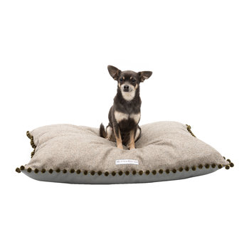 Tweed Pillow Bed With Pom Pom Trim - Grey/Olive
