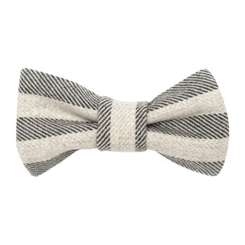 Stripe Brushed Cotton Dog Bow Tie - Flint