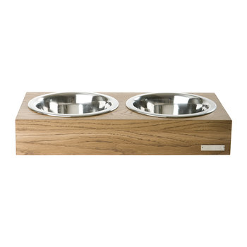 Mini Double Wooden Dog Bowl