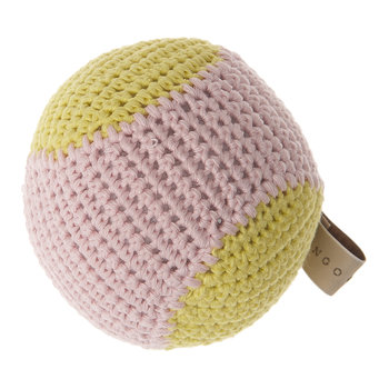 Crochet Baseball Dog Toy - Lemongrass/Blush