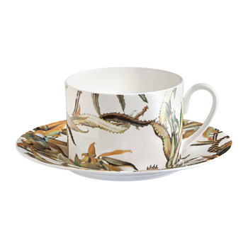 Tropical Flower Tea Cup & Saucer - Set of 6