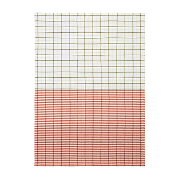 Ern Stripe Grid Tea Towel - PaleGreen/SpicyOrange