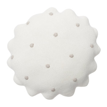 Round Biscuit Knitted Pillow - Ivory