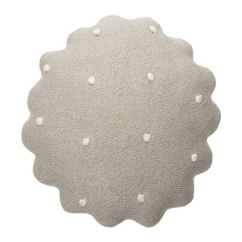 Round Biscuit Knitted Pillow - Dune White