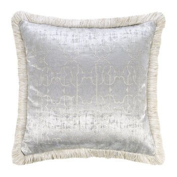 Araldico Velvet Cushion - 43x43cm - Grey/Platinum