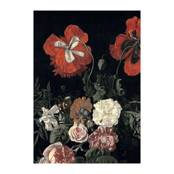 Poppy Flower Print - Red - 70x100cm
