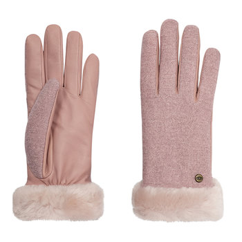 Women's Shorty Fabric & Leather Glove - Pink Crystal
