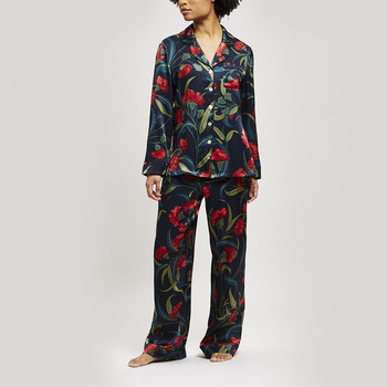 Evelyn Silk Pajama Set - Navy