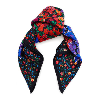 Floral Medley Scarf - 45x45cm - Red