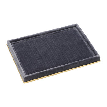 Valentina Velvet Rectangular Tray - Gray