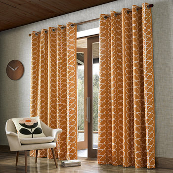 Linear Stem Eyelet Curtains - Papaya