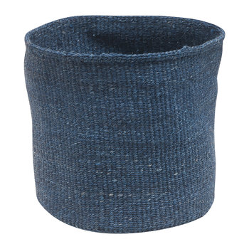 Bluu Hand Woven Storage Basket - Denim Blue