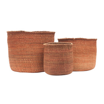 Bongo Hand Woven Storage Basket - Red