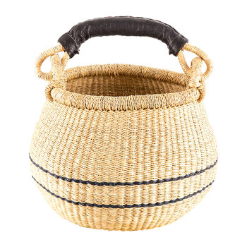 Egbe Hand Woven Lidded Shopping Basket - Black/Natural