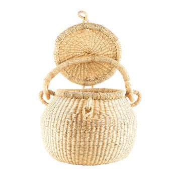Wene Hand Woven Lidded Shopping Basket - Natural