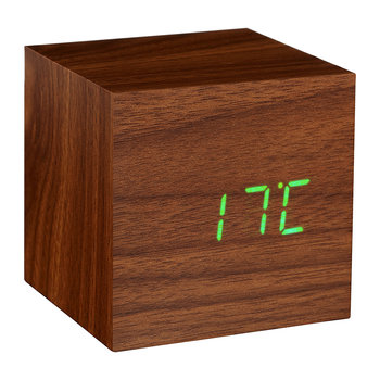 Cube Click Clock - Walnuss/Grüne LED