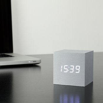 Cube Click Clock - Aluminium / White LED