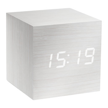 Cube Click Clock - White / White LED