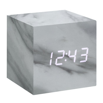 Cube Click Clock - Marble / White LED