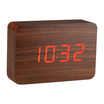 Brick Click Clock - Walnuss/Rote LED