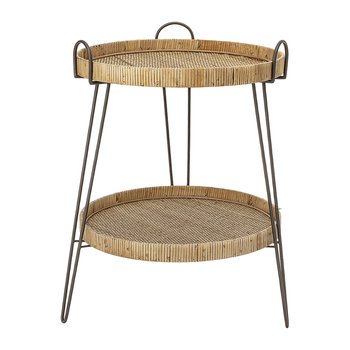 Rattan Two Tier Sidetable - Natural