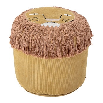 Lion Corduroy Pouf - Yellow