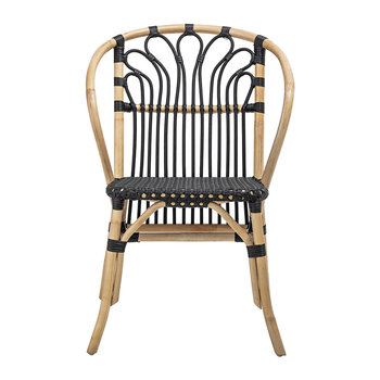 Rattan and Wood Chair - Black