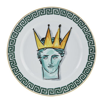 Luke Edward Hall Crown Dinner Plate - White