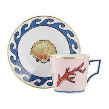 Luke Edward Hall Coral/Shell Coffee Cup & Saucer - Set of 2 - Pink