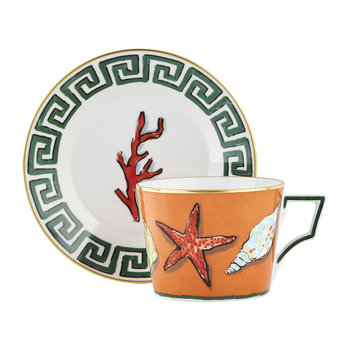 Luke Edward Hall Coral/Shell Teacup & Saucer - Set of 2 - Rock Orange