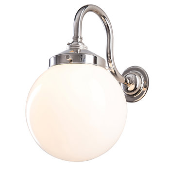Opal Globe Wall Light - Polished Nickel
