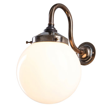 Opal Globe Wall Light - Antique Brass