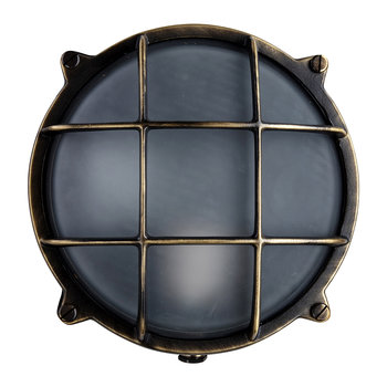 Round Bulkhead Outdoor Wall Light - Antique Brass