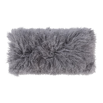 Tibetan Sheepskin Pillow - 28x56cm - Steel