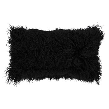 Tibetan Sheepskin Pillow - 28x56cm - Black