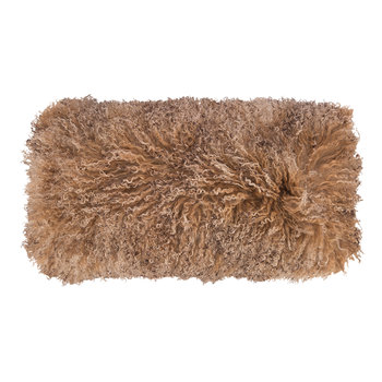 Tibetan Sheepskin Cushion - 28x56cm - Sunset