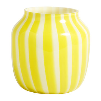 Wide Juice Striped Glass Vase - Yellow