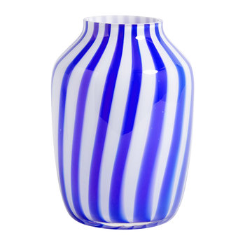 High Juice Striped Glass Vase - Blue