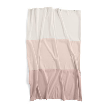 Aquarelle Shower Curtain with Horizontal Stripes - Rose