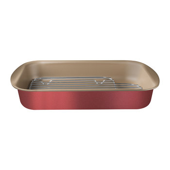 Brazil Roasting Pan and Stainless Steel Rack - Red