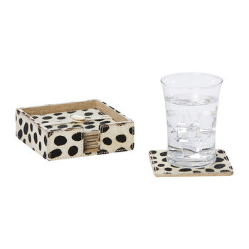 Bandar Hair-On Hide Coaster - Set of 6 - Dalmatian