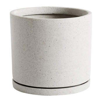 Plant Pot with Saucer - Grey