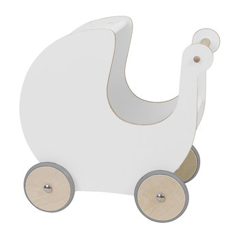 Wooden Doll's Pram - White
