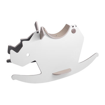 Reversible Rhino Rocking Horse - White/Grey Wood