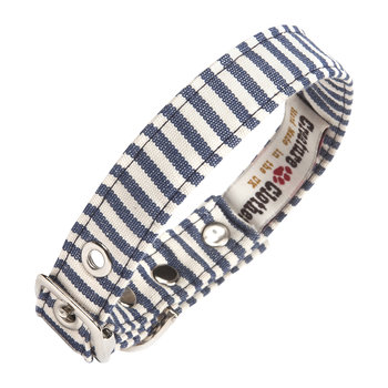 Fabric Dog Collar - Blue & White