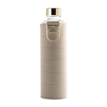 Mismatch Water Bottle with Faux Leather Cover - Beige